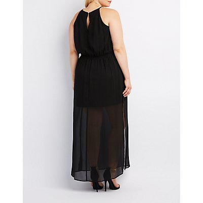 Plus Size Bib Neck Keyhole Maxi Dress