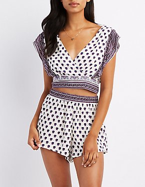 Printed Ruffle-Trim Tie Back Crop Top