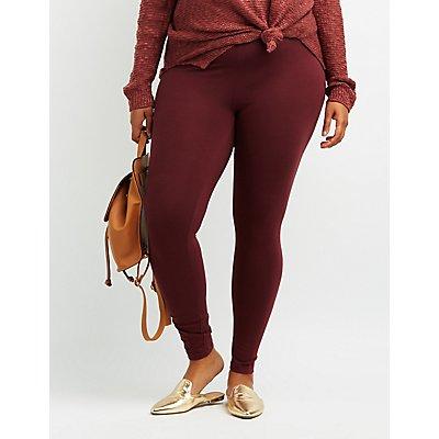 Plus Size Solid Stretch Cotton Leggings