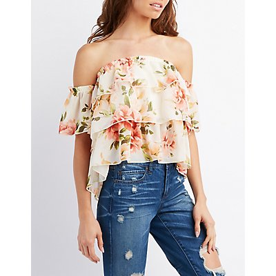 Floral Tiered Off-The-Shoulder Top