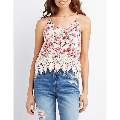 Floral Crochet-Trim Button Up Top