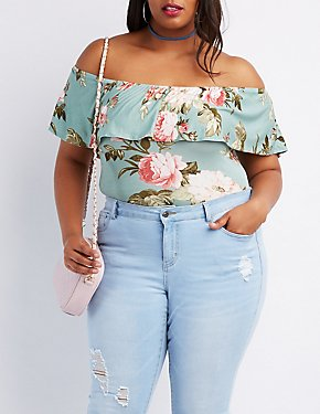 Plus Size Floral Ruffle-Trim Bodysuit