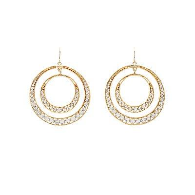 Embellished Double Hoop Earrings