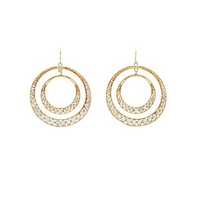 Embellished Double Hoop Earrings