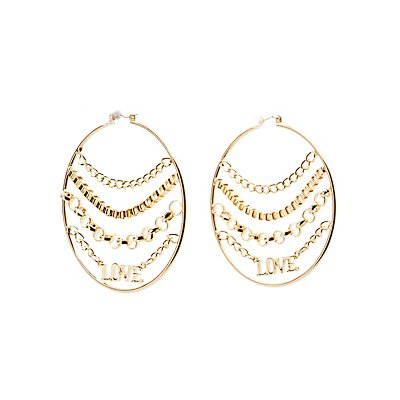 Chainlink Love Hoop Earrings