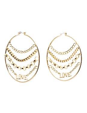 Chainlink Love Hoop Earrings
