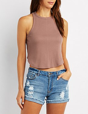 Ribbed Curved Hem Cropped Tank Top