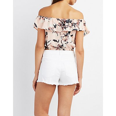 Floral Off-The-Shoulder Lace-Up Top