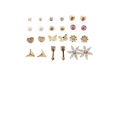 Embellished Stud Earrings Set - 12 Pack