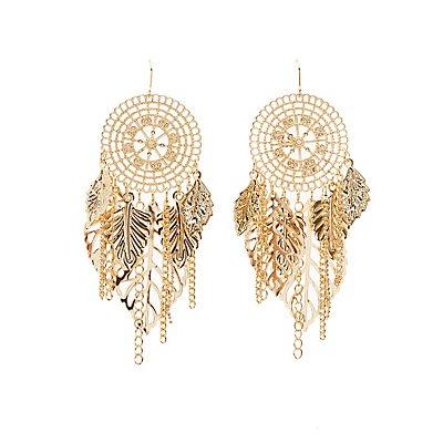 Leaf Fringe Drop Earrings