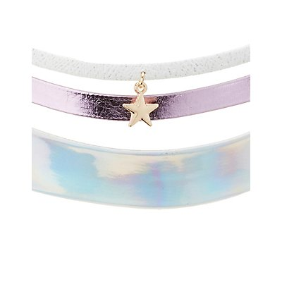 Star & Holographic Choker Necklaces - 3 Pack