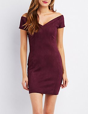 Faux Suede Off-The-Shoulder Bodycon Dress
