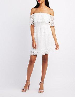 Crochet Ruffle Off-The-Shoulder Dress