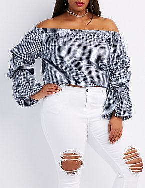 Plus Size Gingham Off-The-Shoulder Top
