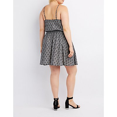 Plus Size Printed Lace-Up Skater Dress