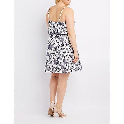 Plus Size Floral Lace-Up Skater Dress