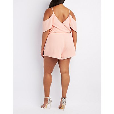 Plus Size Cold Shoulder Surplice Romper