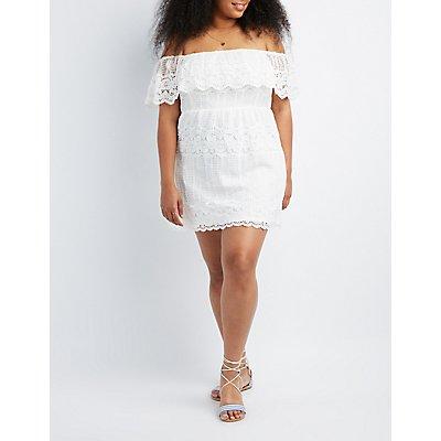 Plus Size Crochet Lace Off-The-Shoulder Skater Dress