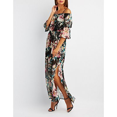 Floral Cold Shoulder Bell Sleeve Maxi Dress