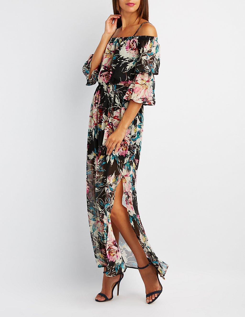 Floral Cold Shoulder Bell Sleeve Maxi Dress | Charlotte Russe