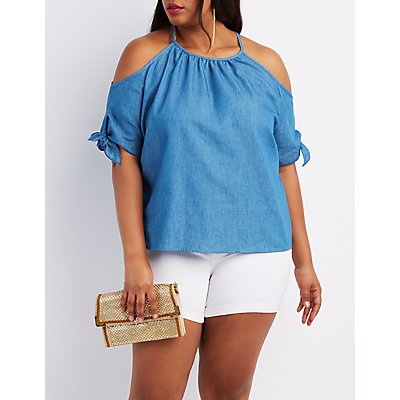Plus Size Chambray Cold Shoulder Top