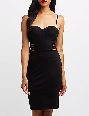 Lattice-Inset Bustier Bodycon Dress