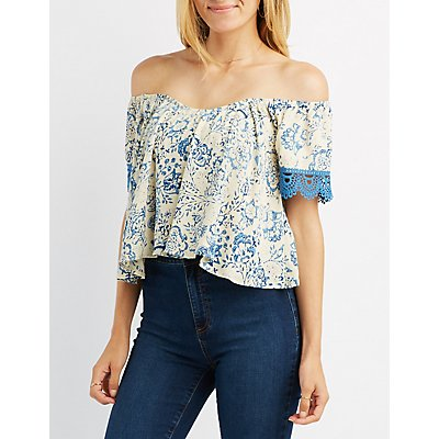 Crochet-Trim Off-The-Shoulder Sweetheart Top