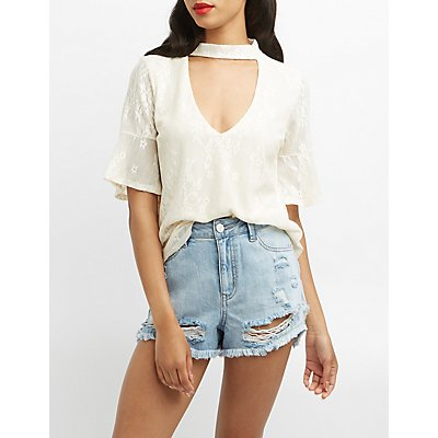 Lace Choker Neck Bell Sleeve Top