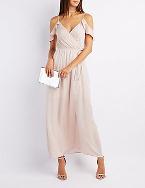 Surplice Cold Shoulder Wrap Dress