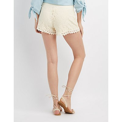 Lace Crochet-Trim Shorts