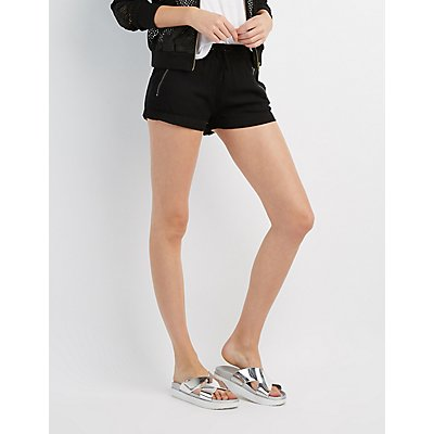Zip-Front Drawstring Shorts
