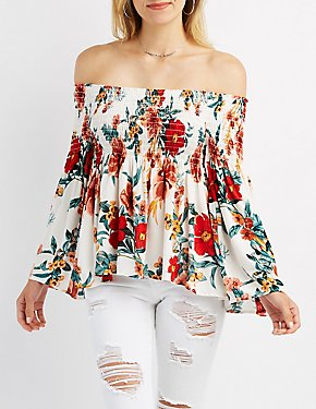 Floral Smocked Off-The-Shoulder Top