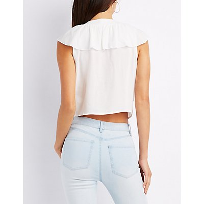 Ruffle Lace-Up Skimmer Top