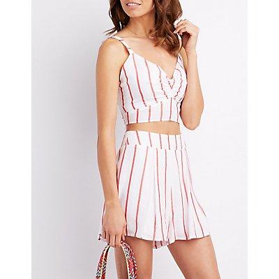 Striped Tie-Back Crop Top