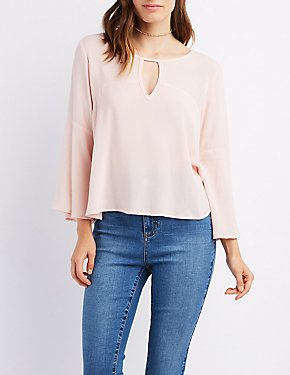 Keyhole Bell Sleeve Top