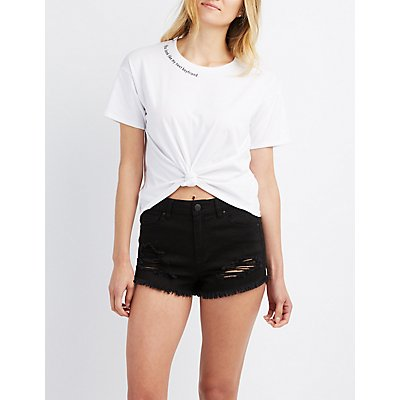 Graphic Neck Cropped Tee