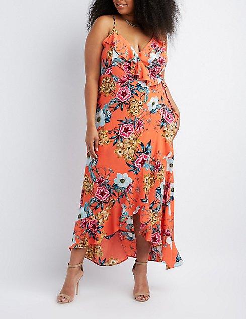 Plus Size Floral Ruffle-Trim Wrap Maxi Dress | Charlotte Russe