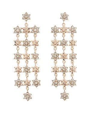 Embellished Floral Chandelier Earrings