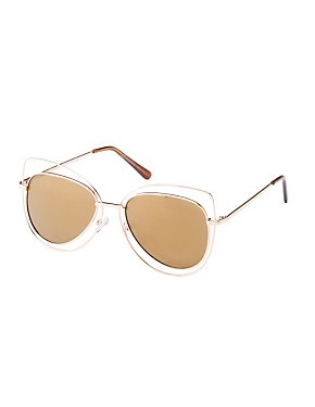 Wire Oversize Cat Eye Sunglasses