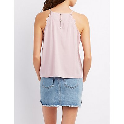 Embroidered Bib Neck Tank Top