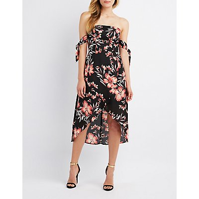 Floral Off-The-Shoulder Asymmetrical Midi Dress