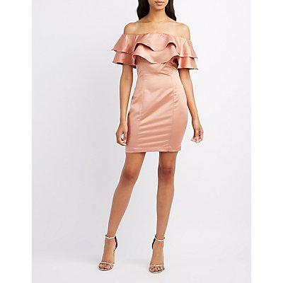 Satin Tiered Off-The-Shoulder Dress