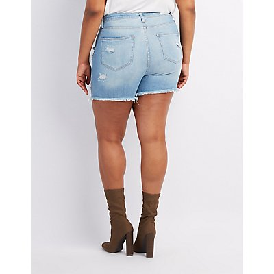 Plus Size Cello Destroyed Bermuda Shorts