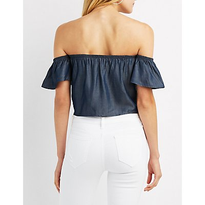 Chambray Off-The-Shoulder Tie Top