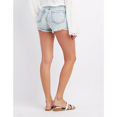 Distressed High-Rise Cut-Off Shorts