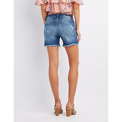Cello Destroyed Denim Bermuda Shorts