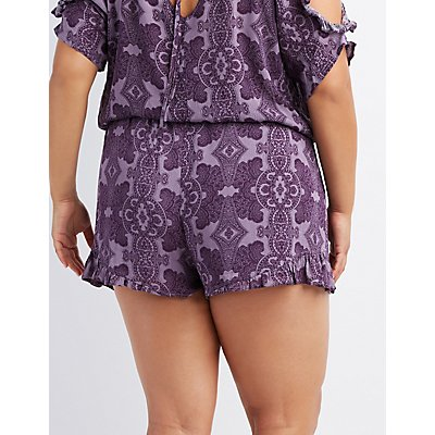Plus Size Paisley Ruffle-Trim Shorts