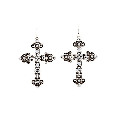 Embellished Cross Drop Earrings