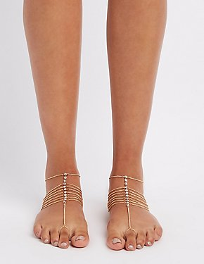 Embellished Layered Foot Chains - 2 Pack