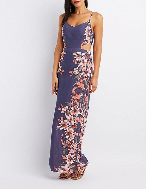 Floral Cut-Out Maxi Dress | Charlotte Russe